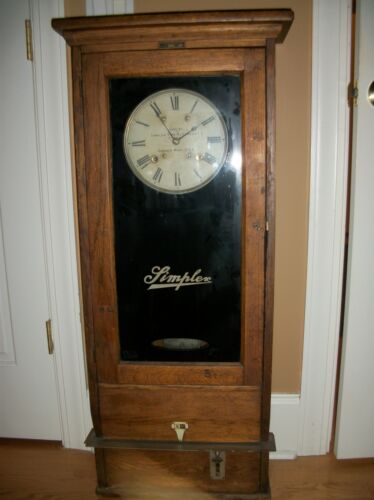 Antique Simplex Time Recorder, Industrial Time Clock  Gardner Mass   works