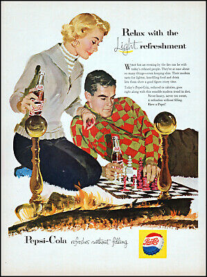1957 Couple playing chess fireplace Pepsi-Cola soda vintage art print ad L56