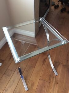 Glass/chrome end table