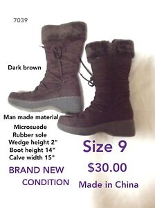 Size 9 wedged boots brand new condition