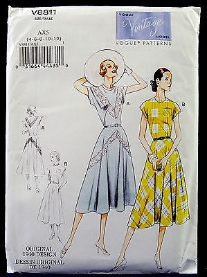 Vogue Vintage 1940s Retro Dress Sewing Pattern Misses Women 4,6,8,10,12 8811