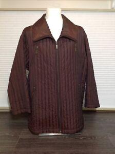 Olsen Collection ladies burgundy wine puffer coat