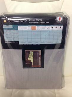 1 Pair of Silver Sunblock Ready Made Pencil Pleat Curtains Cumbalum Ballina Area Preview