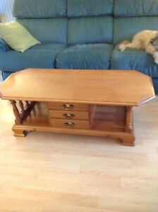 Wood coffee table, end table , and end table with lamp
