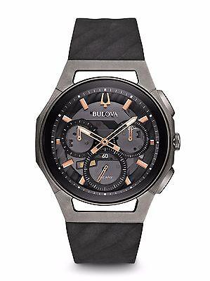 Bulova 98A162 Mens Chronograph CURV Black Rubber Strap Watch