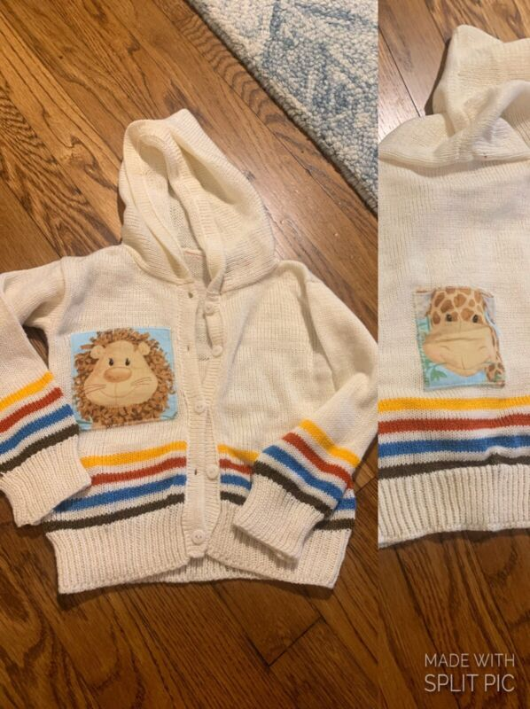 Vintage Rare Izod Toddler Baby Hoodie Sweater Hood Animals