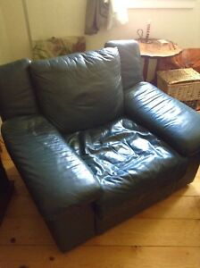 Big comfy green leather chair