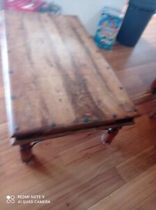 Rustic sawn timber style table and 8 chairs