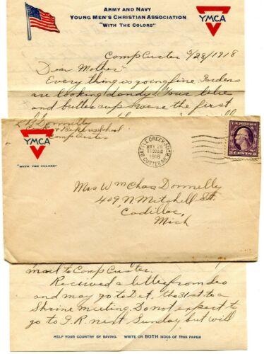 WORLD WAR 1 SOLDIERS LETTER CAMP CUSTER BATTLE CR MI L B DONNELLY CADILLAC MI