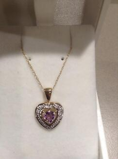 Amethyst and diamond pendant and chain 9ct yellow gold Eaton Dardanup Area Preview