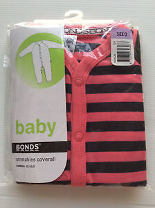 Bonds baby stretchies coverall - BNIP - size 0 - girls - pink/black Murrumba Downs Pine Rivers Area Preview