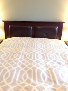 Espresso coloured queen bed frame, boxspring and mattress