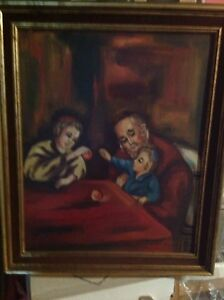 Framed painting of Jewish old man, woman and child