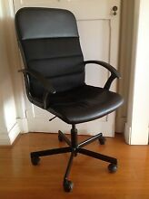 Black Leather Office Chair Mosman Mosman Area Preview
