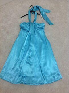 Intangible Size 12 Aqua Satin Dress Worn Once