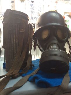 GERMAN WW2 POLICE HELMET AND GASMASK PLUS CONTAINER