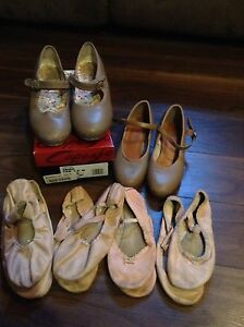 Dance shoes and bodysuits and gymnastics bodysuits