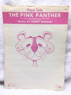 Vintage The Pink Panther Piano Solo Sheet Music Henry Mancini Cherry Lane Music