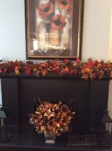 9 ft fall garland with wood elements throughout