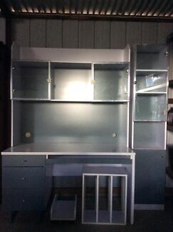White & Grey Desk with matching display cabinet Woonona Wollongong Area Preview