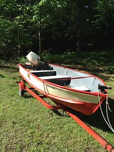 14' Aluminum boat, 20hp 1986 Johnson motor with trailer