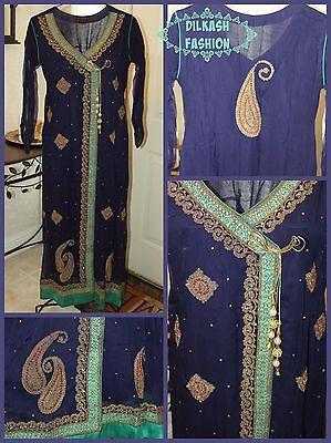Pakistani Navy Blue/ Sea Green A-Line Chiffon Suit with Dori, Beads, & Stonework ()