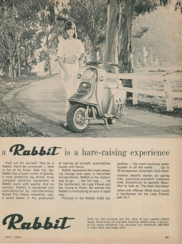 1965 Rabbit Vintage Scooter Ad S-601 Superflow Motorscooter Moped Pretty Girl