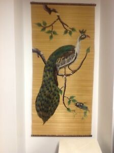 Wall hanging peacock real feather