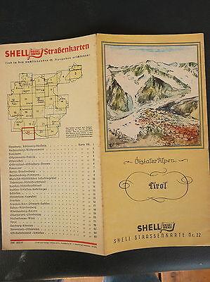 1930's Tirol   Austria Germany Deutschland road  map shell gas oil Innsbruck