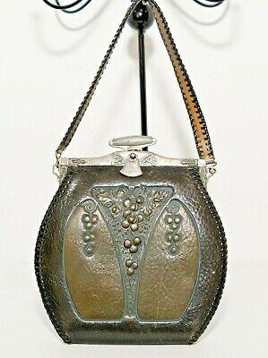 1920s Style Purses, Flapper Bags, Handbags Circa 1920's Tooled Art Nouveau Design Leather Purse Beautiful Grapes  $45.00 AT vintagedancer.com