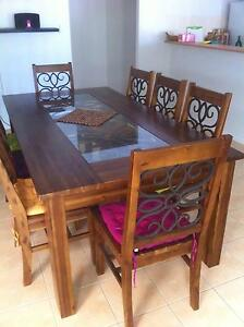 STUNNING GRAND 8 SEATER DINING WITH TEMPERED GLASS INLAYS Shailer Park Logan Area Preview