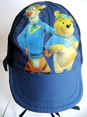 Neu! Disney Winnie the Pooh Mütze Cap Ohrenschutz Bindeband blau 49 51 53