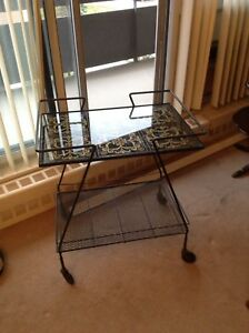 Vintage wire and glass tea/bar cart