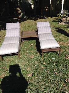 Timber pool lounges with cushions and drinks table Ascot Brisbane North East Preview