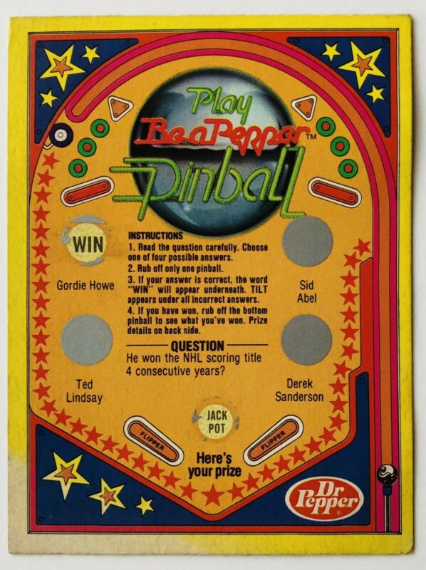 Dr Pepper Be A Pepper Pinball Card Vintage Advertising