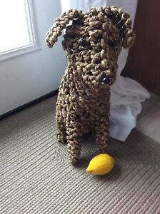 "Dog sculpture, natural Fibre/ Basket weave 20"" tall"