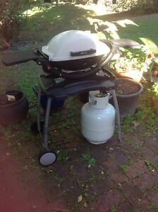 Weber Baby Q Q100 BBQ Barbecue with Rolling Cart and gas bottle Coorparoo Brisbane South East Preview