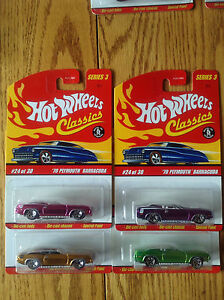 Hot Wheels Classics Series 3 # 24 '70 Plymouth Barracuda 4 lot