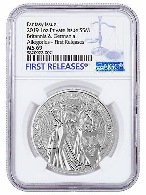2019 1 oz Silver Allegories Germania & Britannia Medal NGC MS69 FR SKU58808