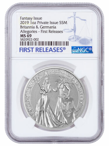 2019 1 oz Silver Allegories Germania & Britannia Medal NGC MS69 FR SKU58808