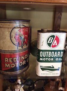 Red indian oil can and ba British American collectible cans