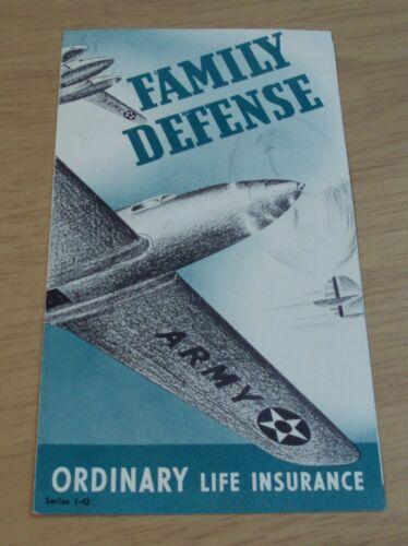 "VTG 1942 WWII Homefront Brochure~""FAMILY DEFENSE""~Omaha LIFE INSURANCE~"