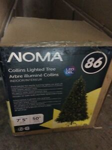 "Noma Collins Lighted Christmas Xmas Tree 86 LED 89""h 50""w"