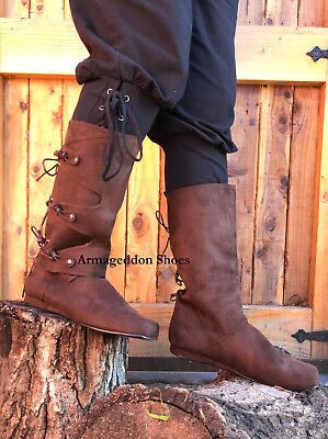 Renaissance Faire Costumes Men (Brown Renaissance Fair Viking Ragnar Scottish Peasant Mens Costume Shoes)