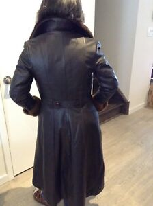 Faux Fur collared leather trench coat