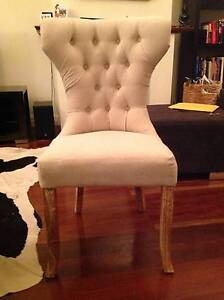 LOUIS HIGH BACK DINING CHAIR WHITEWASH TEAK LEGS & BEIGE LINEN Hampton Bayside Area Preview
