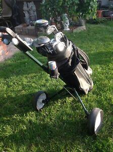 R/H set of Omega irons/golf bag/Golf cart, $120