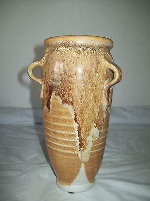 signed drip  glaze studio  pottery  handle loop vase 8