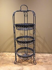 Wrought Iron 3 basket stand