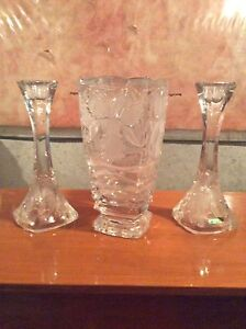 Crystal vase and candlestick holders